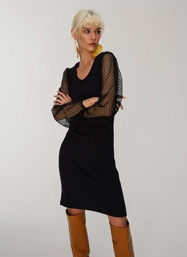 People By Fabrika Tül Detaylı Triko Elbise Siyah